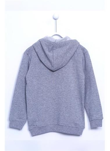 Silversun Kids Kapşonlubaskılı Kol Ve Etek Ucu Lastik Örme Sweatshirt Js 310460 Gri